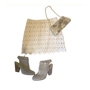 J Crew Ivory Cotton Lace Skirt